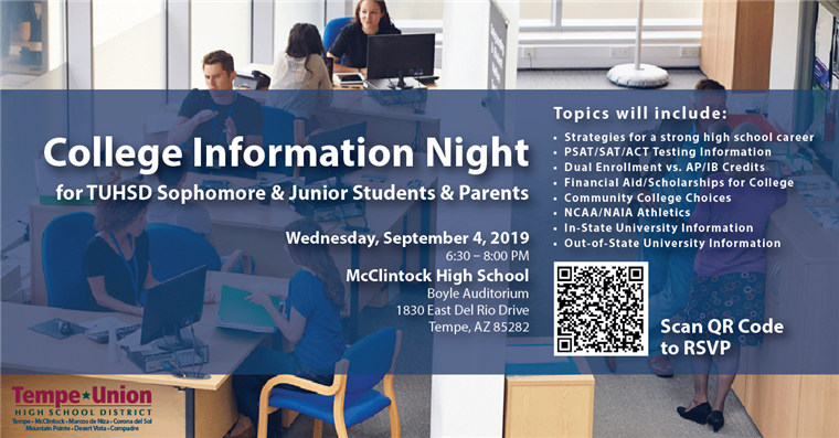 College Information Night wed. sept. 4 from 6:30 - 8 PM see PDF flyer for more information