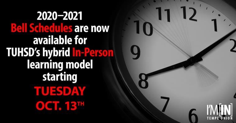 Don't forget to view CA's bell schedules for the in-person hybrid learning model starting Oct. 13th!