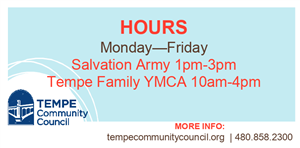 Tempe Community Council logo, location and hours posted on this page