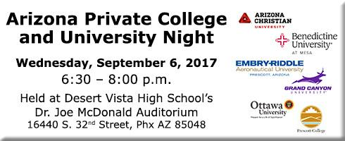 Arizona Private College and University Night on Wednesday, September 6, 2017
