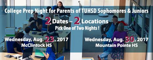 College Prep Nights for Parents of TUHSD Sophomores & Juniors