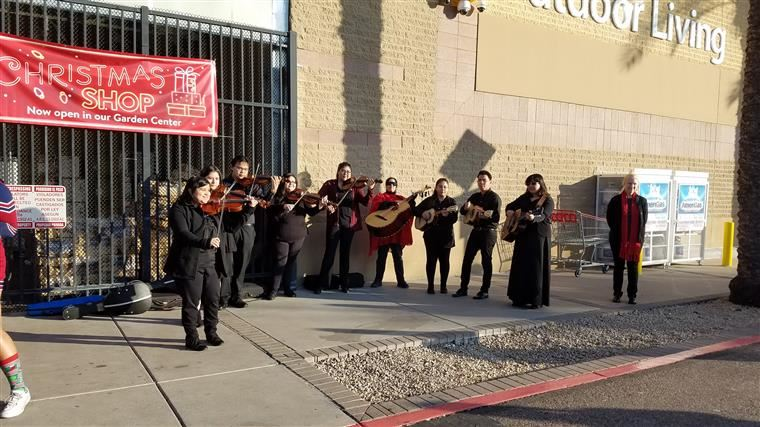 THS mariachi perform during Shop with a Cop