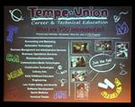 Picture of CTE program flyer on projection screen in auditorium