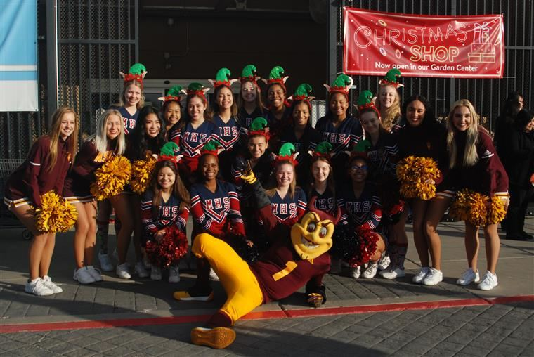 McClintock Cheerleaders pose with ASU's Sparky mascot