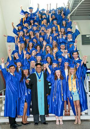 Dual Enrollment Students in Cap and Gown