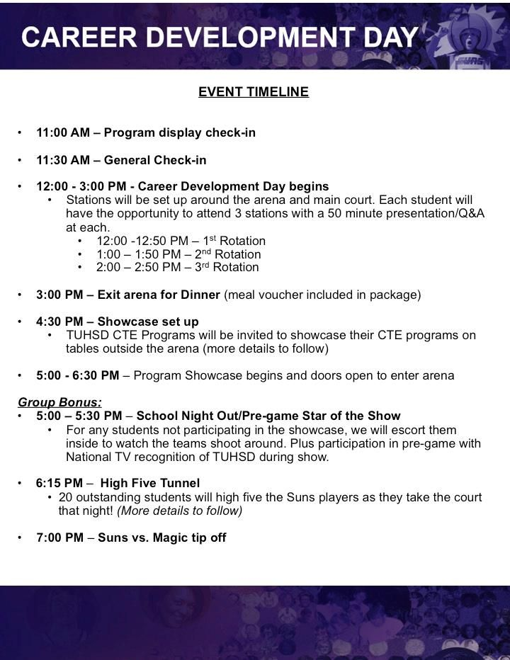 Career Development Day Event Timeline