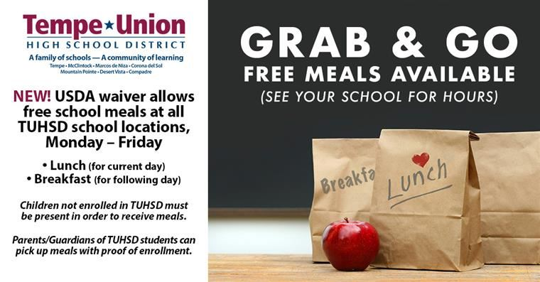 New! Free Grab & Go School Meals Offered at All TUHSD Schools!