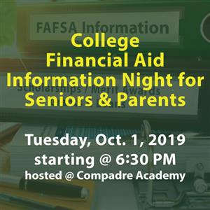College Financial Aid Night Oct. 1 @ 6:30 PM