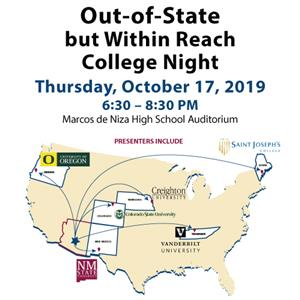 Out of State but Within Reach College Night map of US with arrows to college out of state