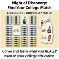 Night of Discovery: Find your college match - image of a matching card game of student with college