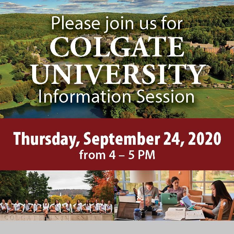 Please Join Us for Colgate Univ Info Session Sept 24, 2020 pictures of campus