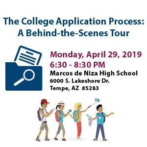 The College Application Process A behind the scenes tour, file with magnifying glass and cartoon tour guide