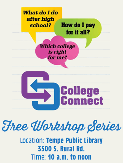 College Connect logo - Free workshop series at Tempe Public Lilbrary