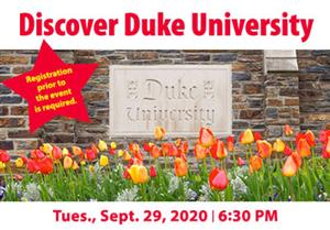 Discover Duke University plaque behind a garden of tulips