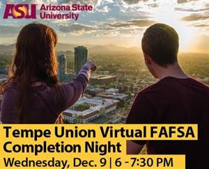 TUHSD Virtual FAFSA Completion Night Wed Dec 9 two college students looking out over Tempe AZ
