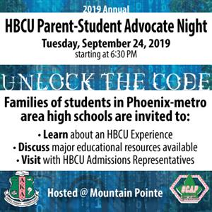 HBCU Parent-Student Advocate Night image of PDF flyer