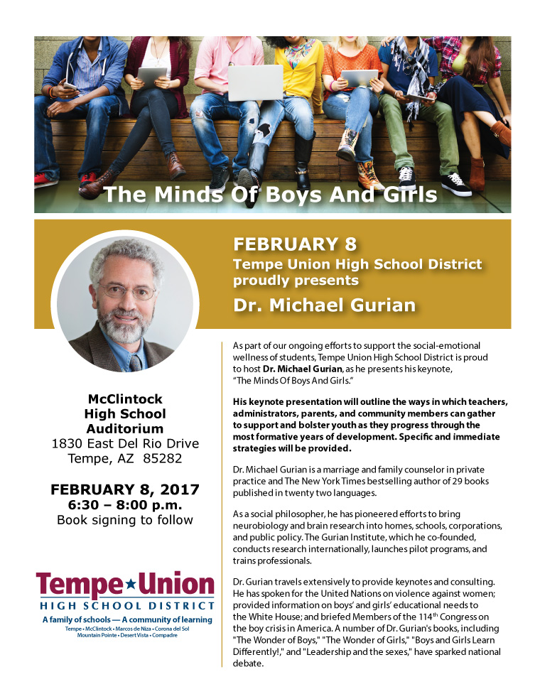 Information on Dr. Gurians The Minds of Boys and Girls Event