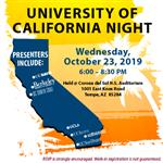 University of CA nights, state of CA with locations of UCs. Look of the flyer